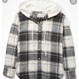 Black and white plaid hooded button up shirt
